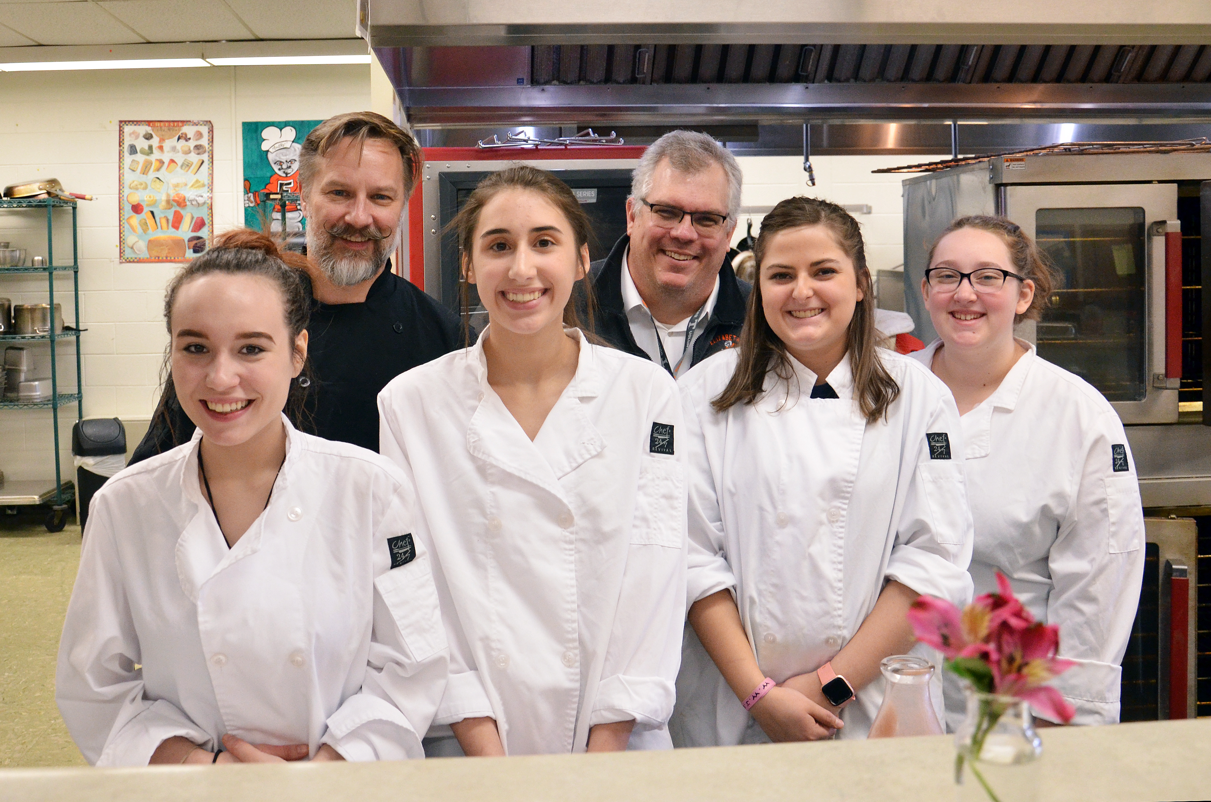 Culinary students and teacher